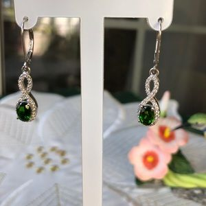 Russian Diopside & Cambodian Zircon Earrings